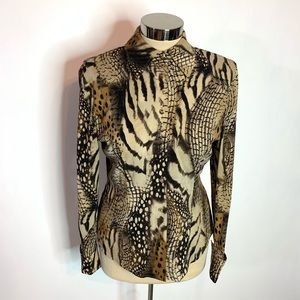 St. John couture animal print top gold button